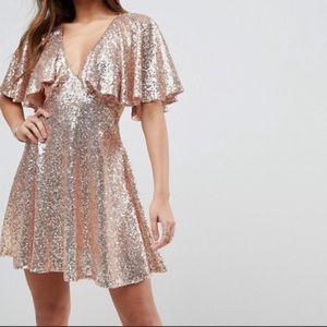 ASOS Sequin Flutter Sleeve Lace Dress Gold Size 2